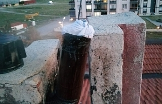 Burhaniye'de baca yangını