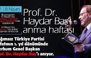 - 12-18 NİSAN; PROF. DR HAYDAR BAŞ'I ANMA HAFTASI…