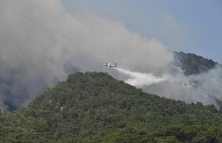Kazdağları'nda orman yangınına 17 helikopter...