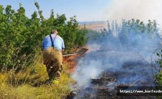 Tarım arazisinde çıkan yangın korkuttu
