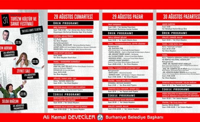 31. Burhaniye Ören Kültür Sanat ve Turizm Festivali'nde geri sayım başladı.